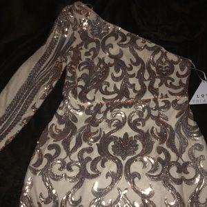 One shoulder Sequin Mini Dress